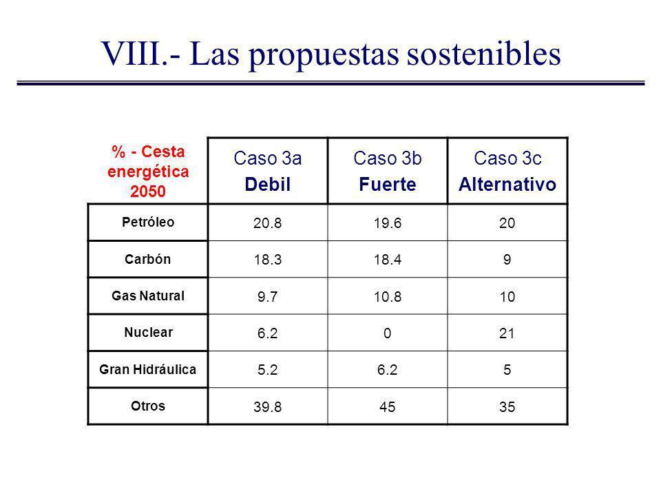 VIII.- Las propuestas sostenibles