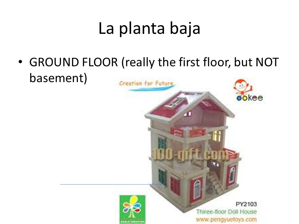 La planta baja GROUND FLOOR (really the first floor, but NOT basement)