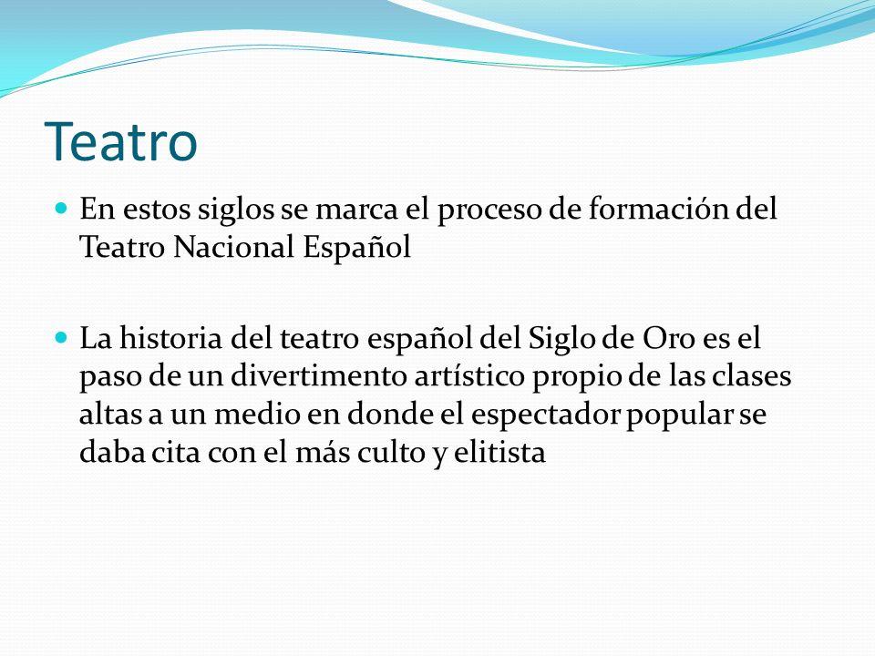 Teatro En estos siglos se marca el proceso de formación del Teatro Nacional Español.