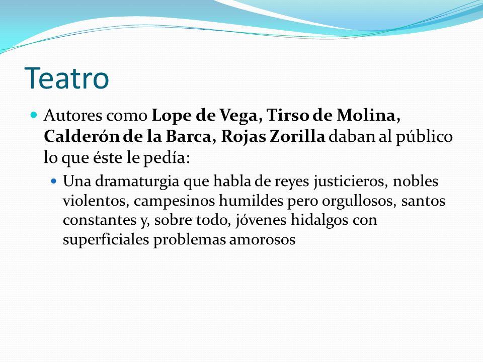 Teatro Autores como Lope de Vega, Tirso de Molina, Calderón de la Barca, Rojas Zorilla daban al público lo que éste le pedía: