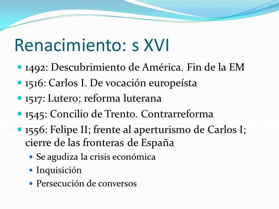 Renacimiento: s XVI 1492: Descubrimiento de América. Fin de la EM