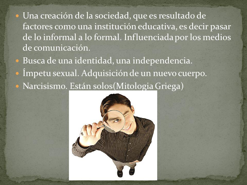 Una creación de la sociedad, que es resultado de factores como una institución educativa, es decir pasar de lo informal a lo formal. Influenciada por los medios de comunicación.