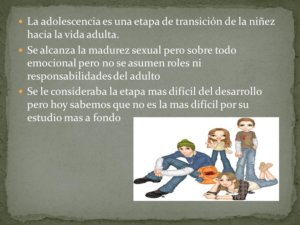 La adolescencia es una etapa de transición de la niñez hacia la vida adulta.
