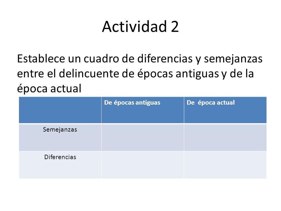 Actividad 2 Establece un cuadro de diferencias y semejanzas entre el delincuente de épocas antiguas y de la época actual.