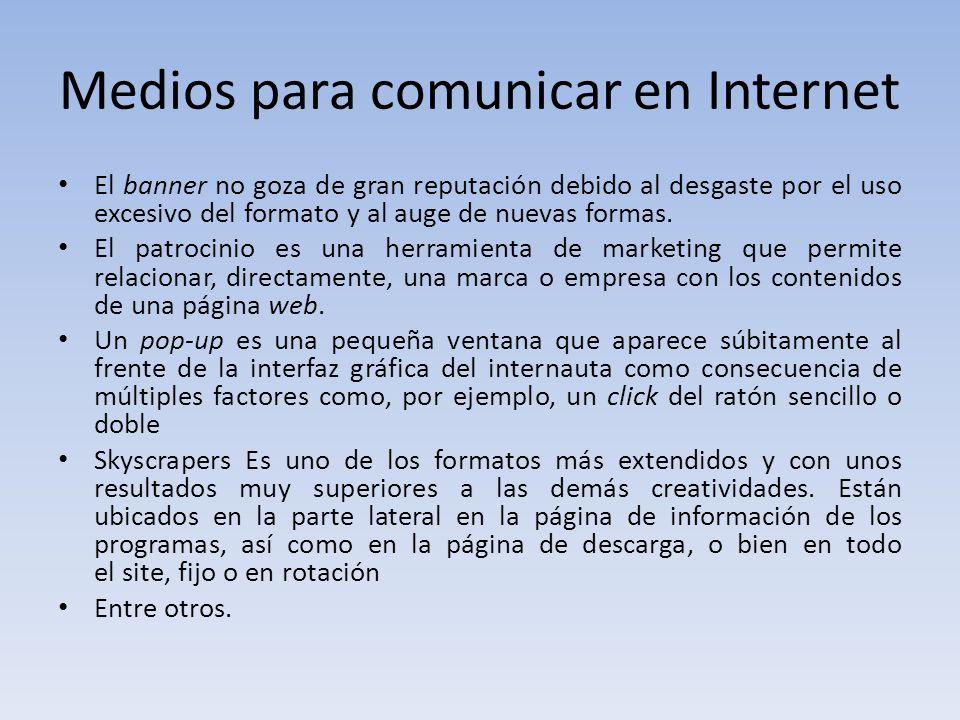 Medios para comunicar en Internet