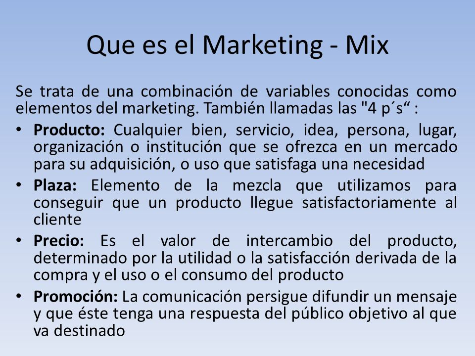 Que es el Marketing - Mix