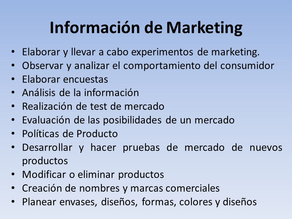 Información de Marketing
