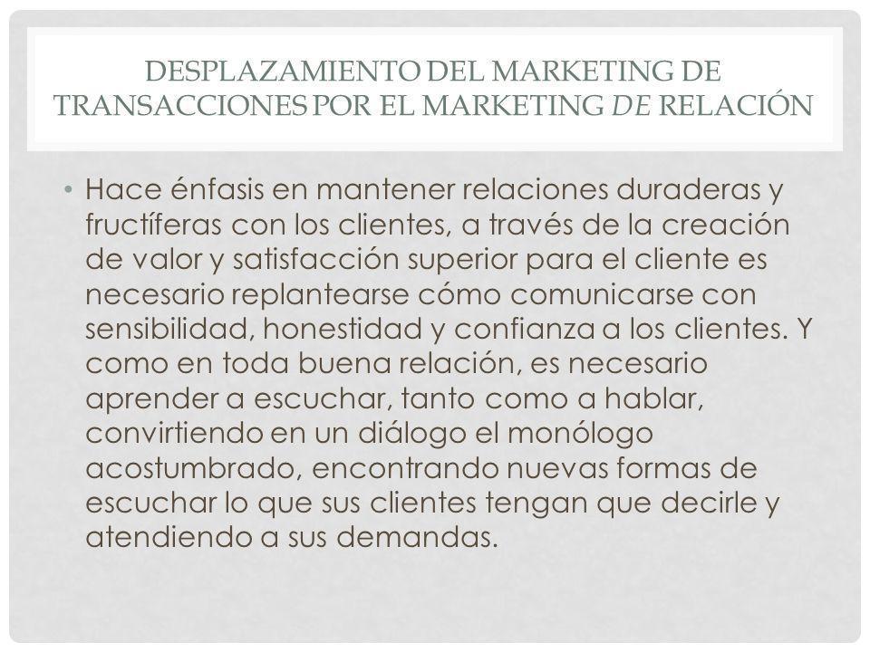 desplazamiento del Marketing de transacciones por el Marketing de relación