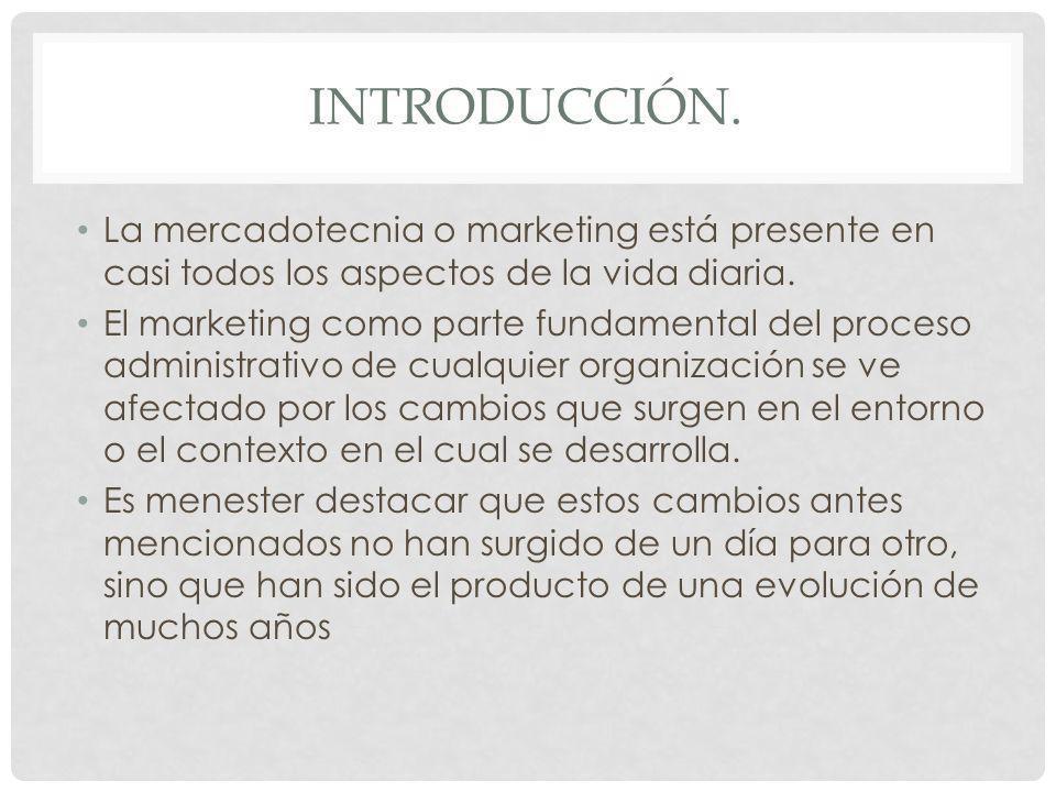 Introducción. La mercadotecnia o marketing está presente en casi todos los aspectos de la vida diaria.