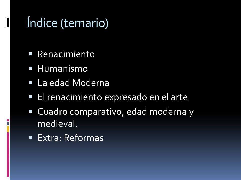 Índice (temario) Renacimiento Humanismo La edad Moderna
