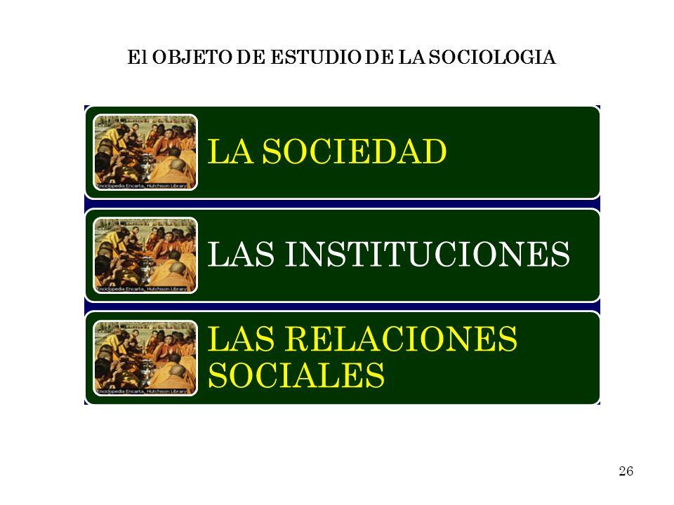 El OBJETO DE ESTUDIO DE LA SOCIOLOGIA