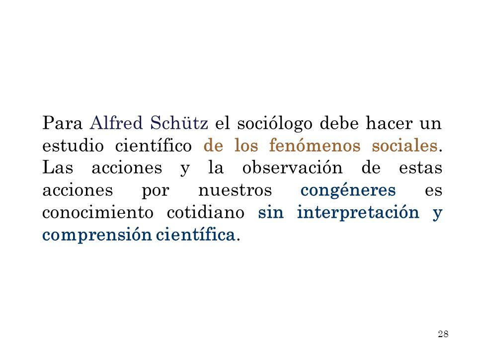 Para Alfred Schütz el sociólogo debe hacer un estudio científico de los fenómenos sociales.