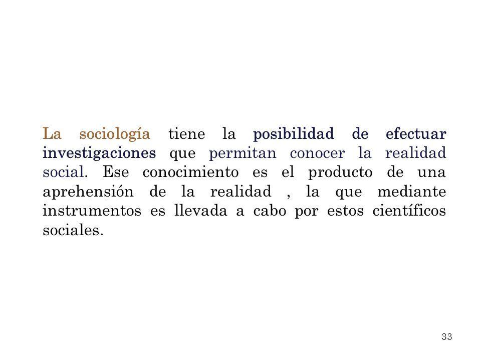 La sociología tiene la posibilidad de efectuar investigaciones que permitan conocer la realidad social.