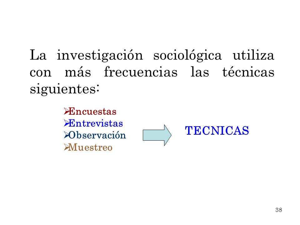 La investigación sociológica utiliza con más frecuencias las técnicas siguientes: