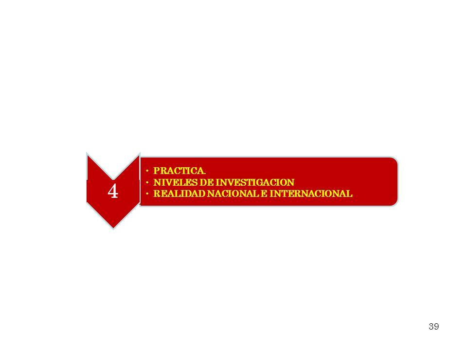 4 PRACTICA. NIVELES DE INVESTIGACION REALIDAD NACIONAL E INTERNACIONAL