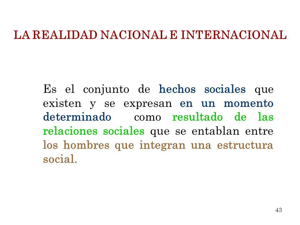 LA REALIDAD NACIONAL E INTERNACIONAL