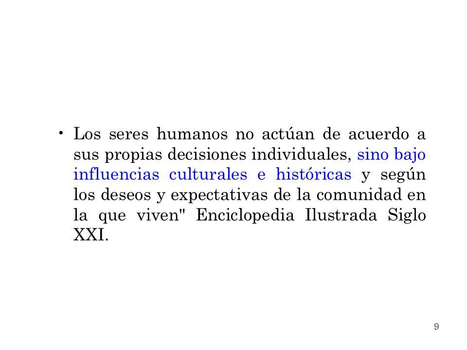Los seres humanos no actúan de acuerdo a sus propias decisiones individuales, sino bajo influencias culturales e históricas y según los deseos y expectativas de la comunidad en la que viven Enciclopedia Ilustrada Siglo XXI.