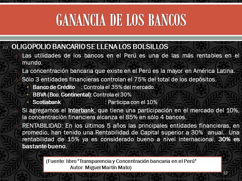 GANANCIA DE LOS BANCOS OLIGOPOLIO BANCARIO SE LLENA LOS BOLSILLOS