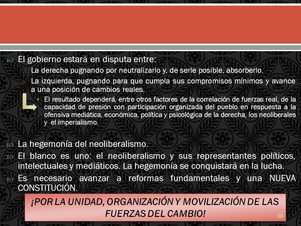 ¡POR LA UNIDAD, ORGANIZACIÓN Y MOVILIZACIÓN DE LAS FUERZAS DEL CAMBIO!