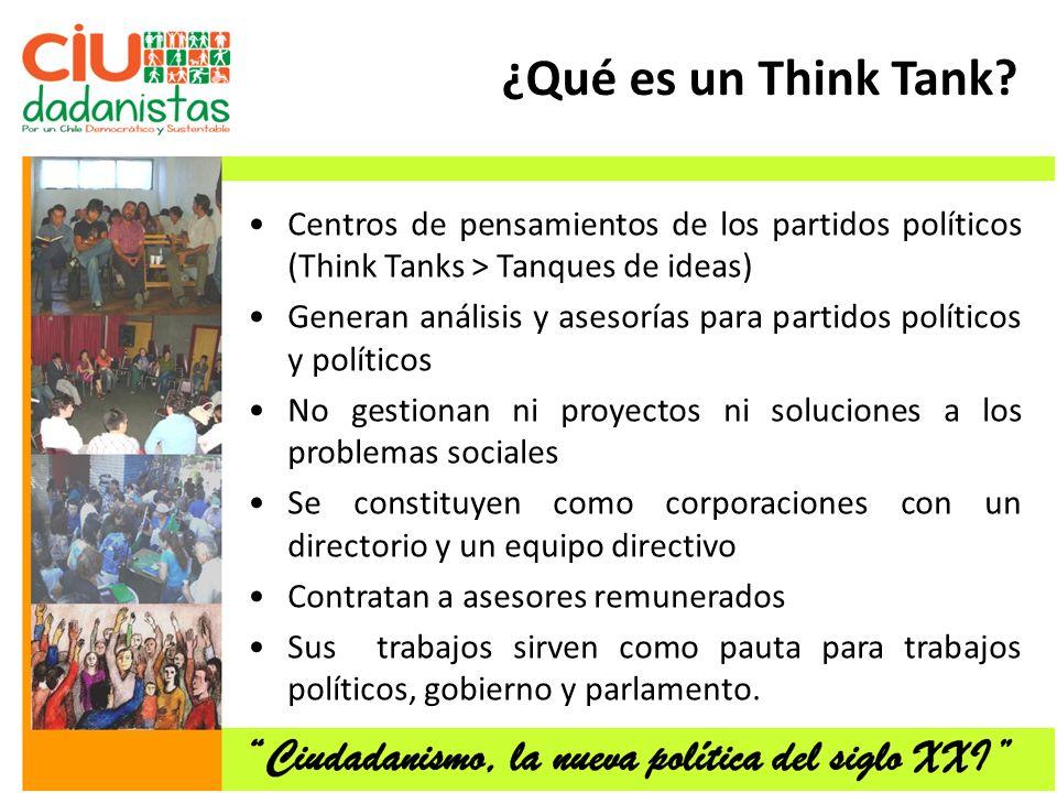 ¿Qué es un Think Tank Centros de pensamientos de los partidos políticos (Think Tanks > Tanques de ideas)