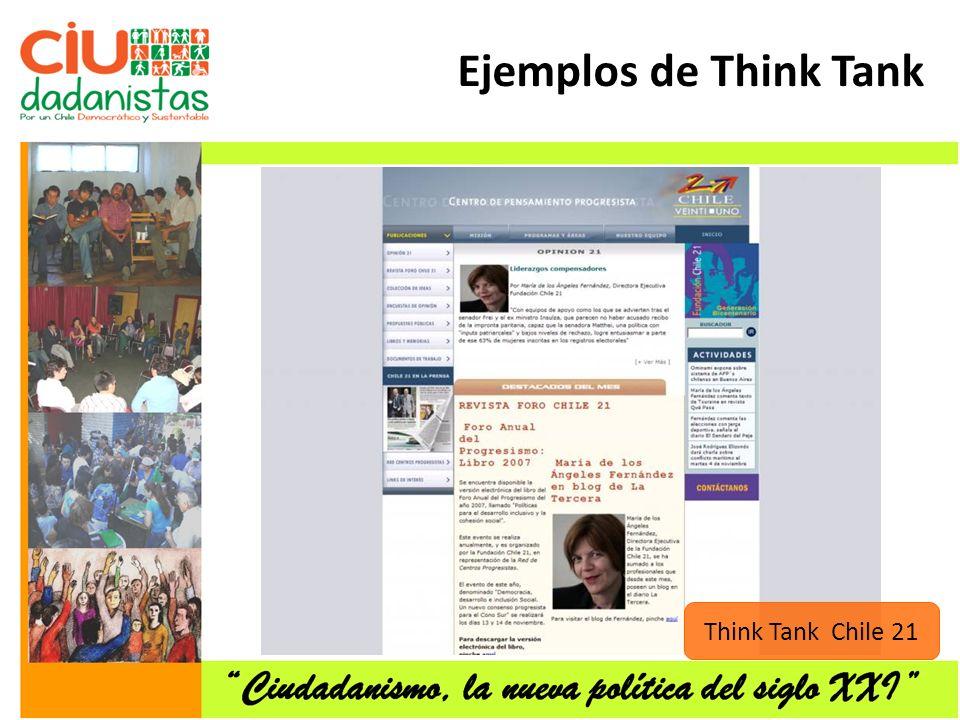 Ejemplos de Think Tank Think Tank Chile 21