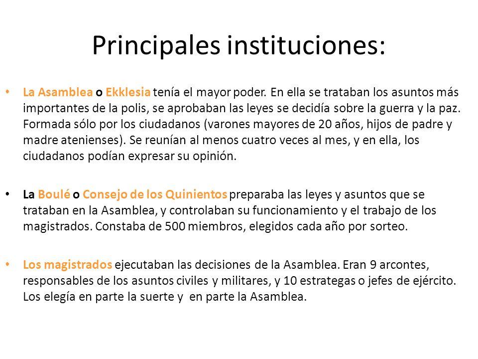 Principales instituciones: