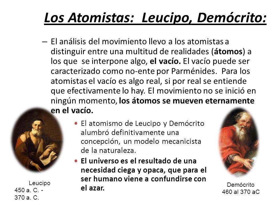 Los Atomistas: Leucipo, Demócrito: