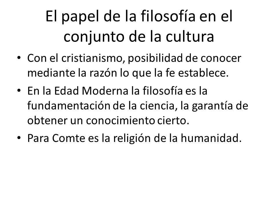 El papel de la filosofía en el conjunto de la cultura