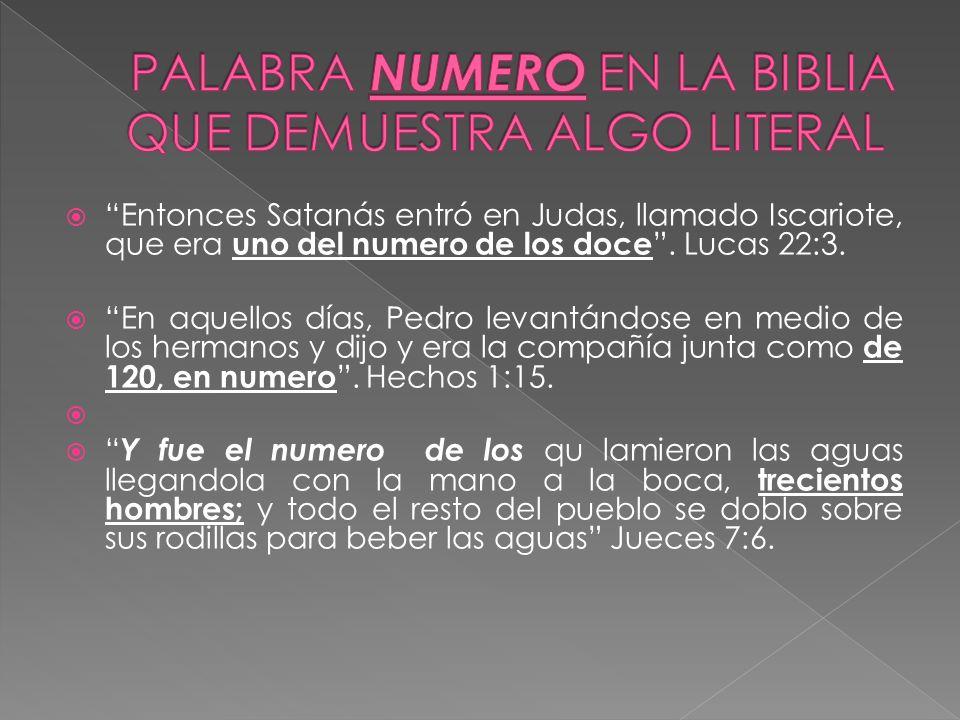 PALABRA NUMERO EN LA BIBLIA QUE DEMUESTRA ALGO LITERAL