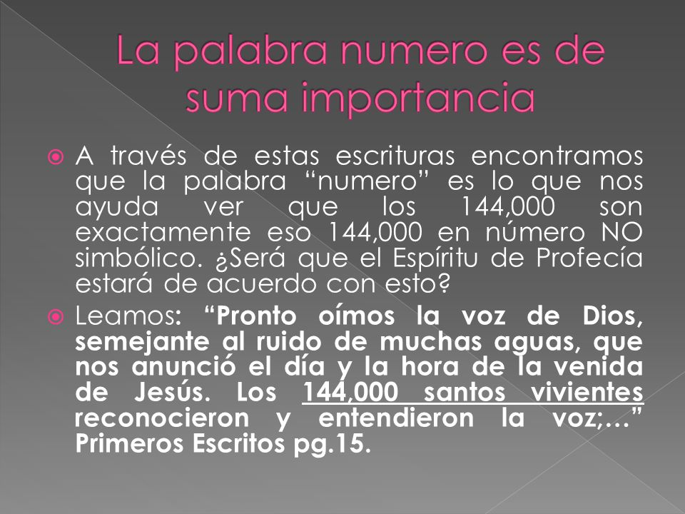 La palabra numero es de suma importancia