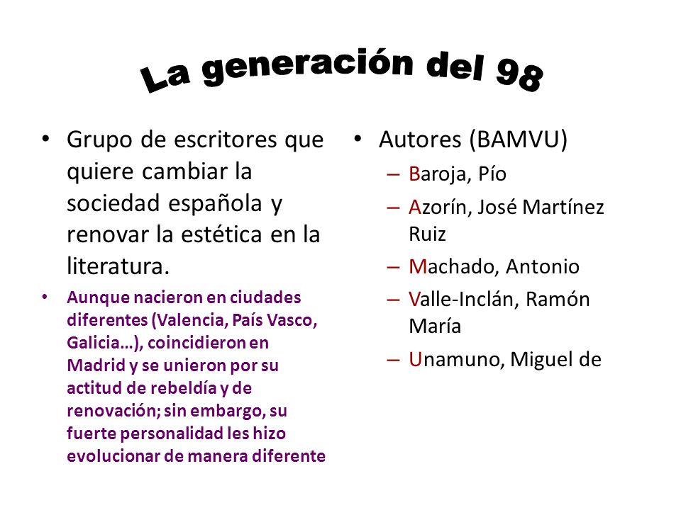 La generación del 98 Grupo de escritores que quiere cambiar la sociedad española y renovar la estética en la literatura.