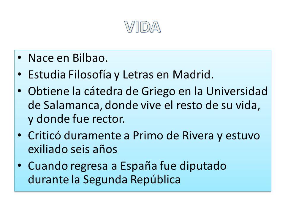VIDA Nace en Bilbao. Estudia Filosofía y Letras en Madrid.
