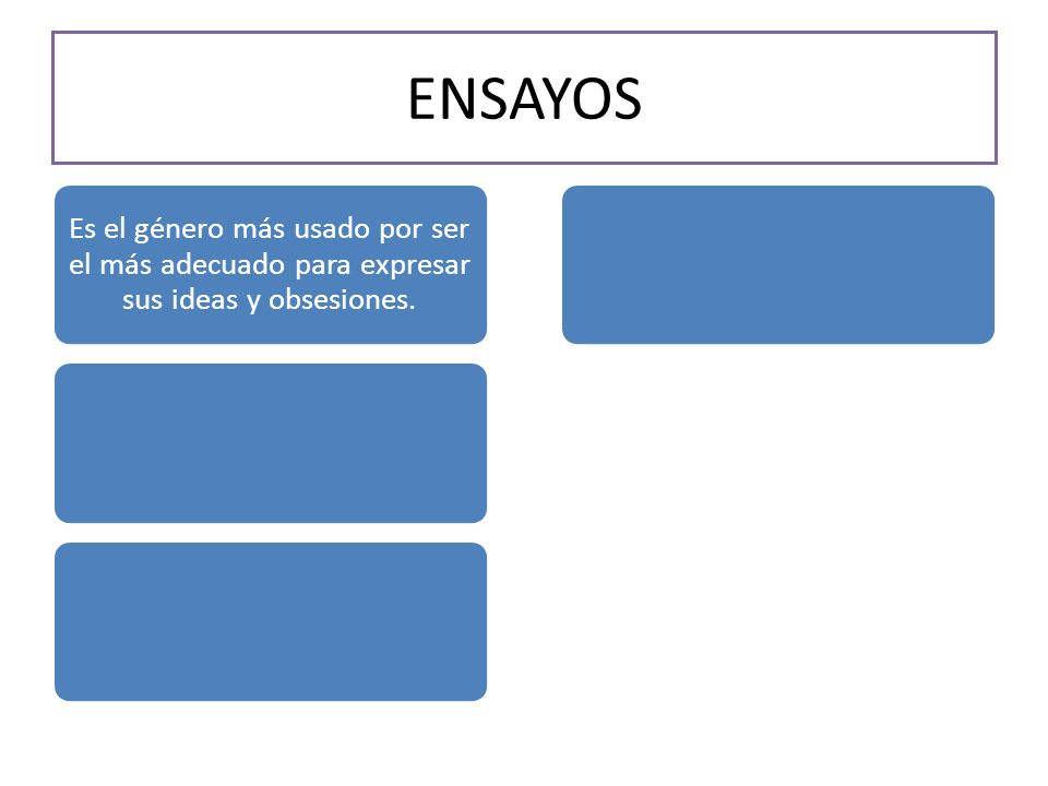 ENSAYOS Es el género más usado por ser el más adecuado para expresar sus ideas y obsesiones.