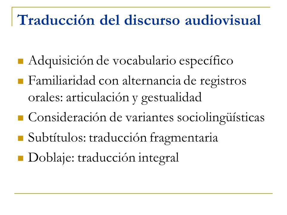 Traducción del discurso audiovisual
