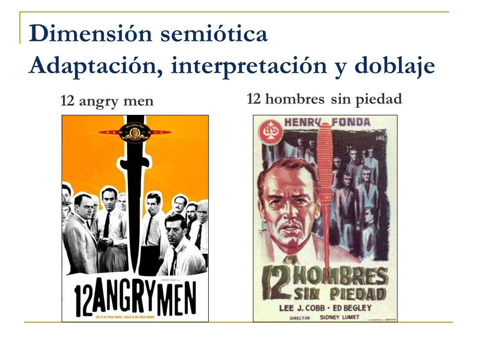 Dimensión semiótica Adaptación, interpretación y doblaje
