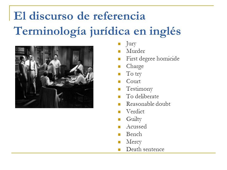 El discurso de referencia Terminología jurídica en inglés