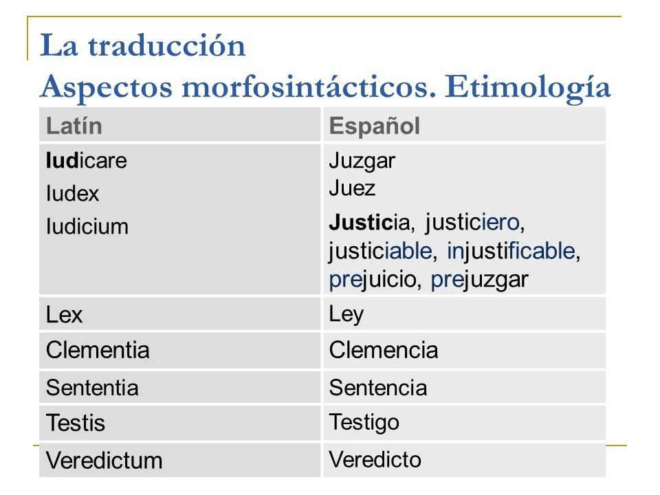 La traducción Aspectos morfosintácticos. Etimología