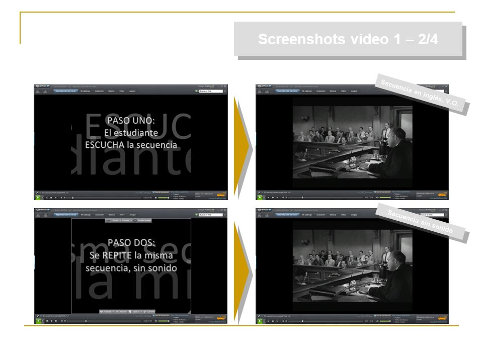 Screenshots video 1 – 2/4 Secuencia en inglés, V.O.