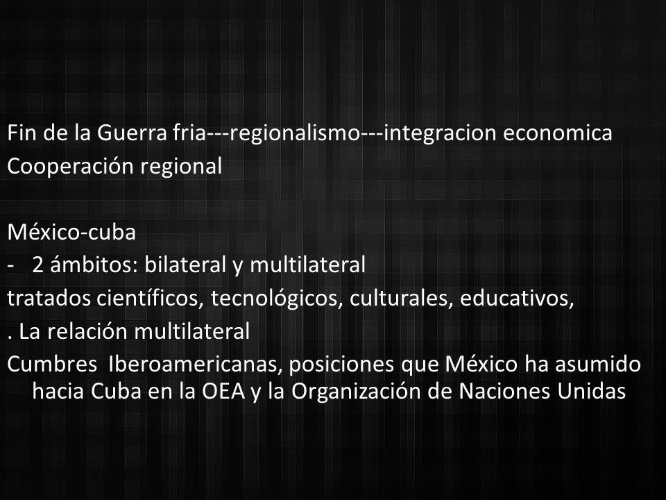 Fin de la Guerra fria---regionalismo---integracion economica
