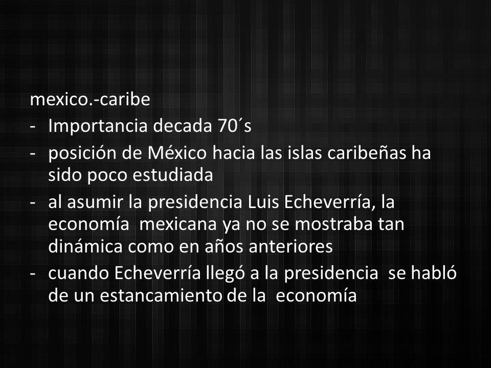 mexico.-caribe Importancia decada 70´s. posición de México hacia las islas caribeñas ha sido poco estudiada.