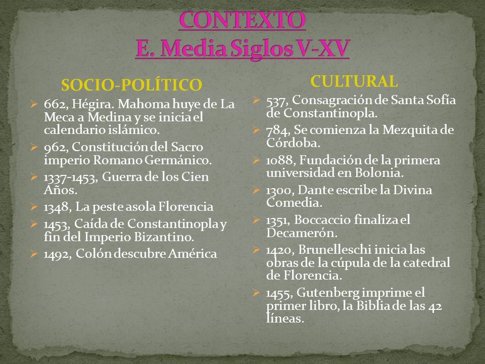 CONTEXTO E. Media Siglos V-XV