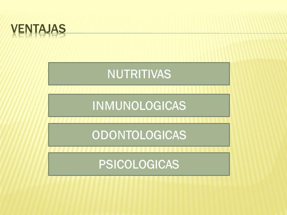 ventajas NUTRITIVAS INMUNOLOGICAS ODONTOLOGICAS PSICOLOGICAS