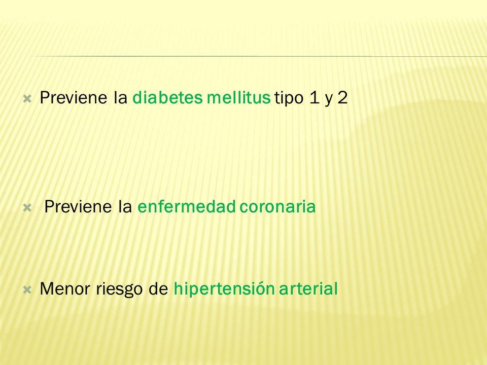 Previene la diabetes mellitus tipo 1 y 2