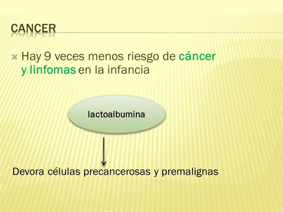 Hay 9 veces menos riesgo de cáncer y linfomas en la infancia