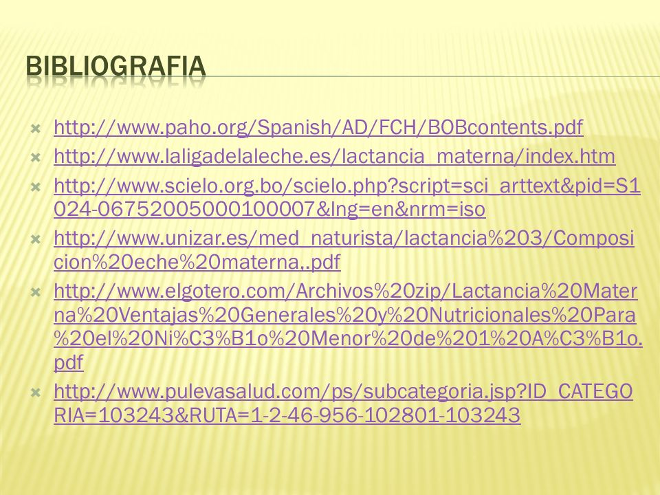 bibliografia http://www.paho.org/Spanish/AD/FCH/BOBcontents.pdf