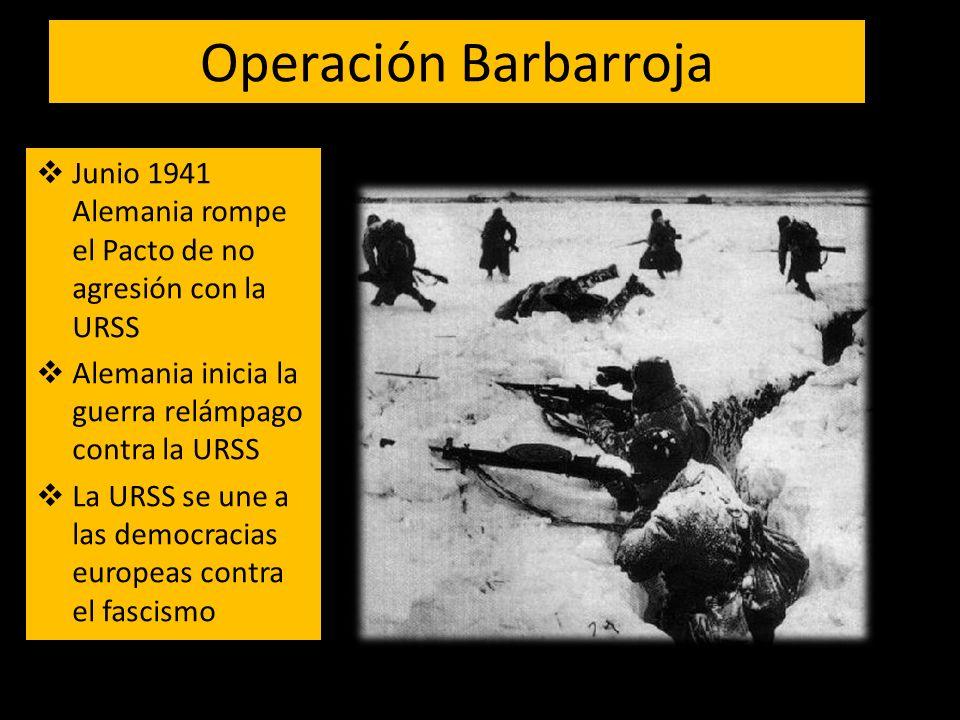 Operación Barbarroja Junio 1941 Alemania rompe el Pacto de no agresión con la URSS. Alemania inicia la guerra relámpago contra la URSS.