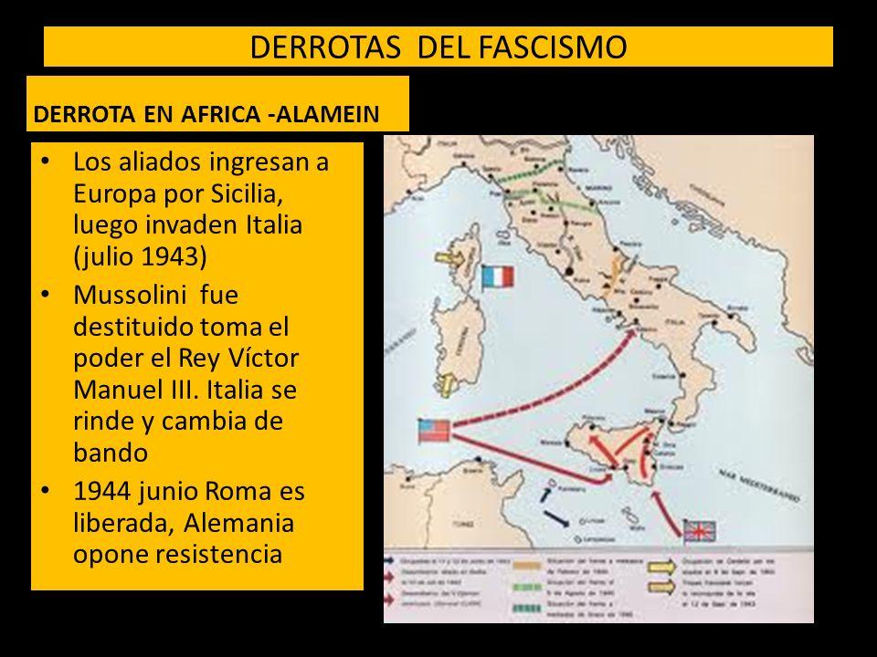 DERROTAS DEL FASCISMO DERROTA EN AFRICA -ALAMEIN. Los aliados ingresan a Europa por Sicilia, luego invaden Italia (julio 1943)