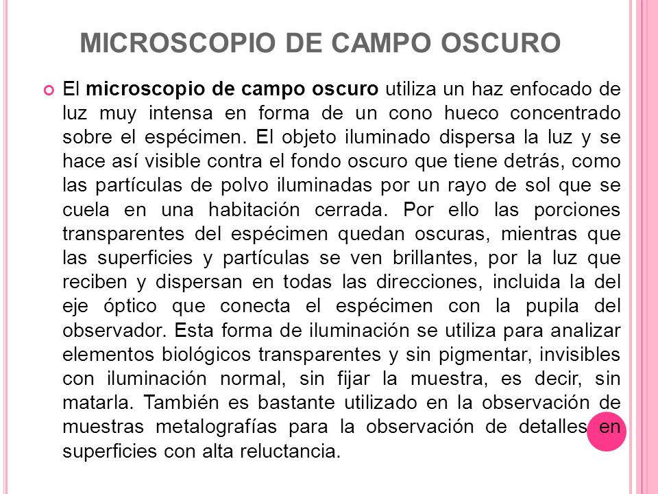 MICROSCOPIO DE CAMPO OSCURO