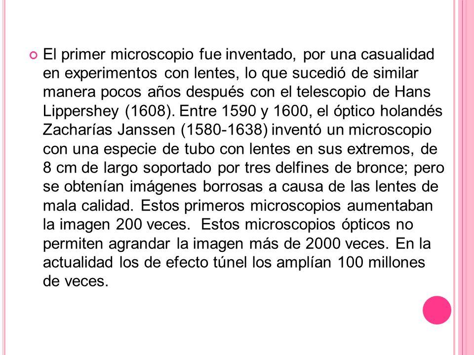 El primer microscopio fue inventado, por una casualidad en experimentos con lentes, lo que sucedió de similar manera pocos años después con el telescopio de Hans Lippershey (1608).