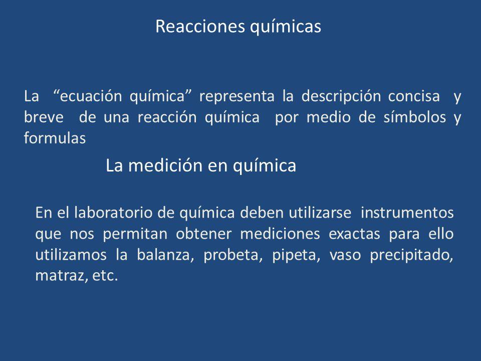 Reacciones químicas La medición en química